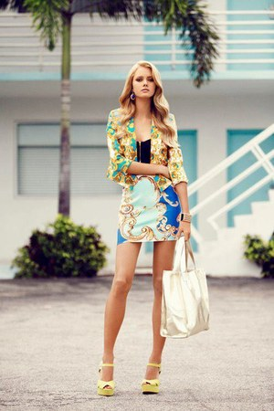 yellow blazer - white bag - light blue skirt