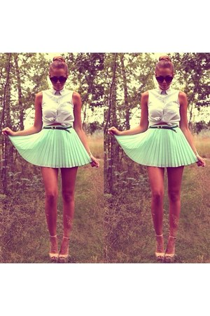 aquamarine skirt - white shirt