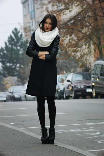 white scarf - black boots - black jacket