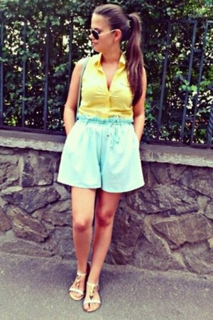yellow Bershka shirt - light blue OASAP shorts - gold Ray Ban sunglasses