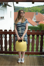 white Swedish Hasbeens shoes - white H&M dress - yellow Zara bag