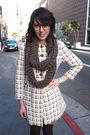 Brown-homemade-scarf-white-vintage-coat-silver-metallic-watch-accessories