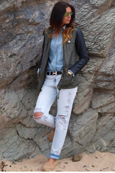 army green Primark jacket - light blue new look jeans