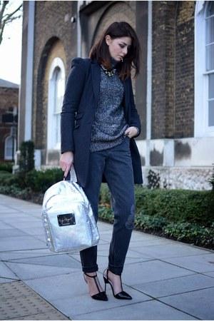 silver High Spirit bag - gray next coat - gray asos jeans - black Zara jumper