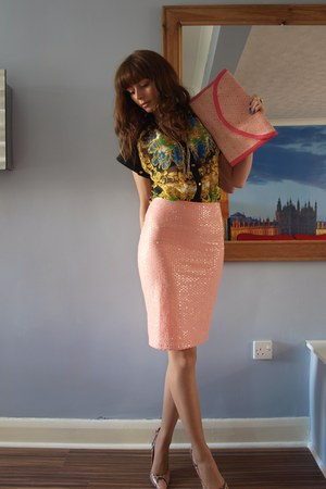 peach H&M skirt - black Primark shirt - bubble gum H&M bag