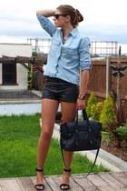 sky blue Zara shirt - dark gray Zara bag - dark gray H&M shorts