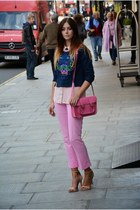 bubble gum Marlborough World bag - navy Kenzo jumper - light pink Primark blouse