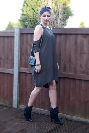 black Zara boots - army green asos dress - black Kurt Geiger bag