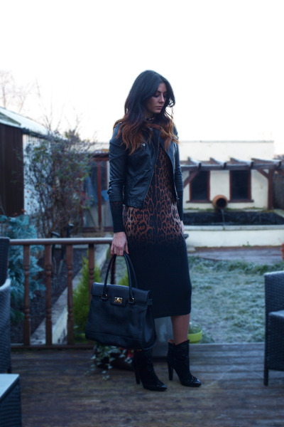 black Zara boots - black leopard print asos dress - black Zara jacket