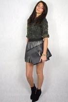 black Primark boots - army green Zara shirt - black Ebay bag