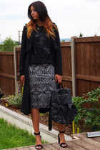 black H&M coat - black Topshop bag - heather gray Peacocks skirt