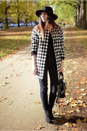 black F&F boots - black F&F coat - black F&F jeans - black H&M hat