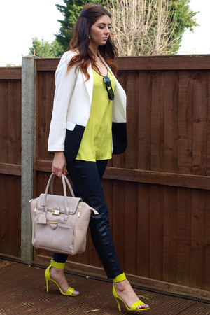 Zara leggings - Primark blazer - Topshop bag - H&amp;M heels - River Island top