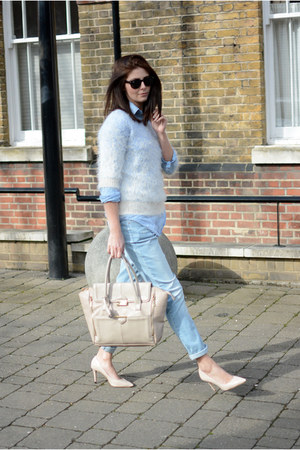 sky blue Dorothy Perkins jeans - sky blue Zara shirt - peach Topshop bag