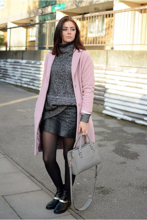 black River Island boots - pink Betty Jackson Black coat - heather gray Zara bag