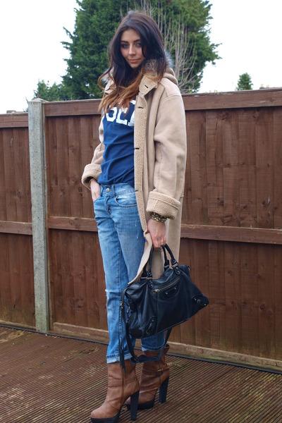 sky blue Primark jeans - tawny Chockers boots - tan full circle coat