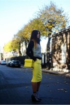 yellow Zara bag - black Forever 21 socks - yellow River Island skirt