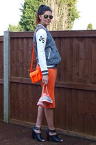 heather gray Topshop jacket - orange Topshop bag - bronze Primark sunglasses
