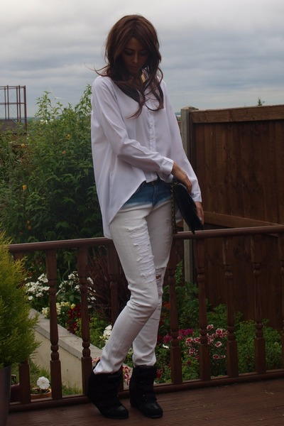 white Ebay shirt - white Zara jeans - black Chanel bag - gold H&M necklace