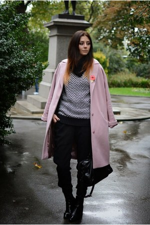 pink coat - black Zara boots - black balenciaga bag - black BHS jumper