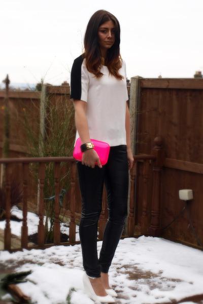 white Zara top - hot pink Zara bag - black Topshop pants