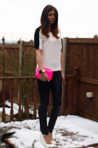hot pink Zara bag - black Topshop pants - white Zara top