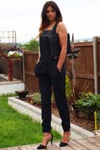 black Ebay bag - black Forever 21 bra - black Boohoo romper - black Zara heels
