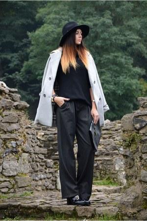 black asos boots - silver asos coat - black Forever 21 hat - black H&M sweater