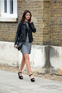 black Forever 21 jacket - charcoal gray next dress - black Choies bag