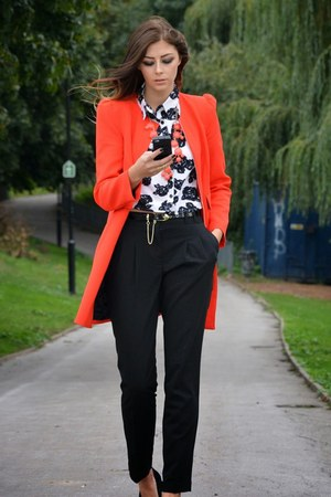 red Zara coat - white Fashion Union shirt - black asos pants