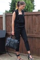 black Zara bag - black Zara vest - black Zara romper - black Kurt Geiger heels
