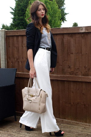 heather gray Primark t-shirt - black Zara blazer - beige Topshop bag