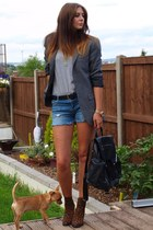 gray new look blazer - brown Zara boots - black Topshop bag - navy Zara shorts