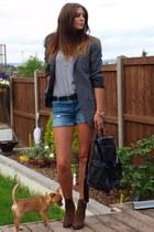 gray new look blazer - brown Zara boots - black Topshop bag - navy Zara shorts