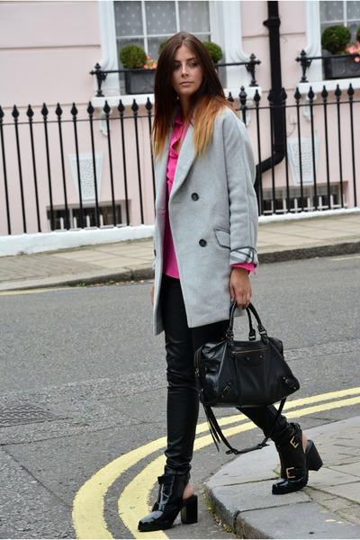 silver asos coat - black asos boots - hot pink Topshop shirt