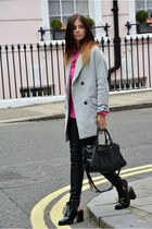 silver asos coat - black asos boots - hot pink Topshop shirt