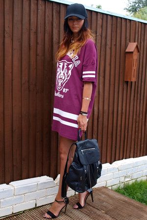 black H&M hat - maroon Primark dress - black Topshop bag - black Primark heels