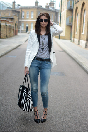 white Very blazer - sky blue asos jeans - black Zara bag