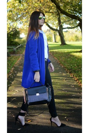 blue M&S coat - black next jeans - white H&M shirt - black Accessorize bag