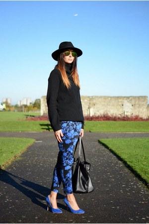 black H&M hat - black Zara bag - blue new look pants - blue Nellycom heels