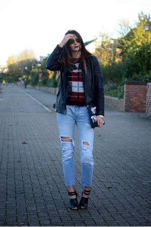 black new look jacket - sky blue Zara jeans - black asos bag