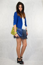 blue Matalan blazer - blue asos bag - charcoal gray Zara skirt