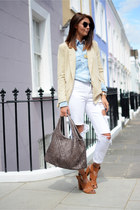camel Forever 21 blazer - white Boohoo jeans - light blue Zara shirt