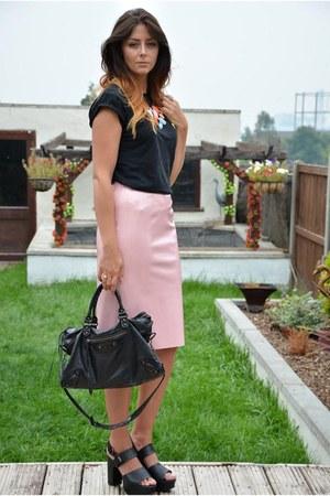 bubble gum vinyl pencil Topshop skirt - black balenciaga bag