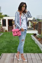 white striped Zara blazer - sky blue Zara jeans - hot pink Marlborough World bag