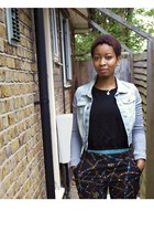 patterned Primark pants - denim jacket jacket - H&M jumper - black Vans sneakers