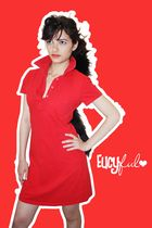 red American Apparel dress - black hat - - - -