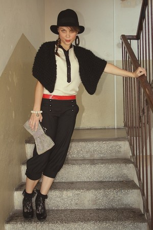 beige Alexander McQueen blouse - black Alcott - black random pants - red vintage