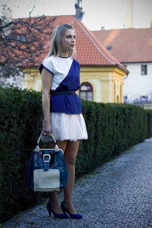 white Sweetacacia skirt - blue vintage blouse - blue Deichmann shoes - blue Orla