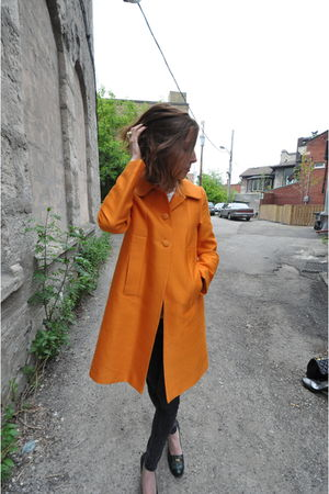 orange H&M coat - gray BDG jeans - green franco sarto shoes - gold thrifted acce